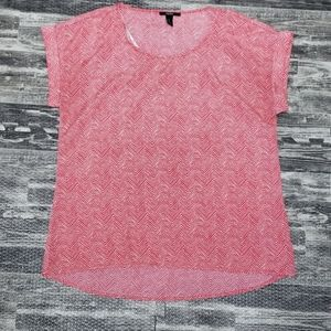 Forever 21 coral and white chevron print shirt